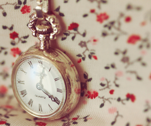 vintage, clock, and flowers image