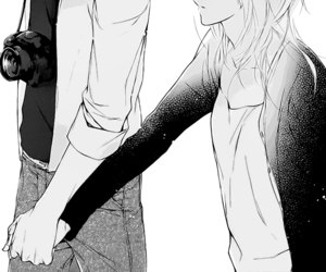 black and white, couple, and manga couple image