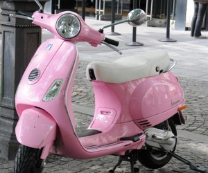 pink, scooter, and Vespa image