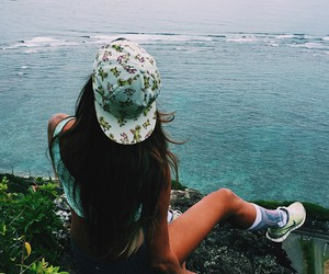 cap, girl, and nature image