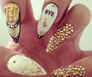 nails, gold, and glam image