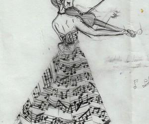 music, violin, and drawing image