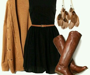 black dress, fall, and boots image
