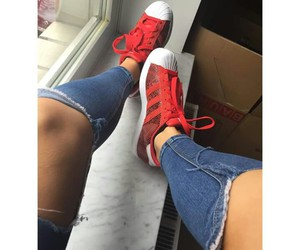 adidas, red, and jeans image