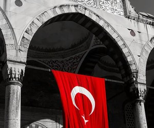 flag, turkey, and mosque image