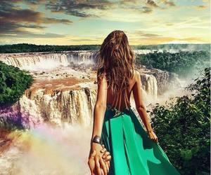 couple, waterfall, and dress image