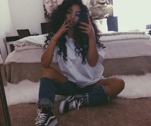 vans, outfit, and curly hair image
