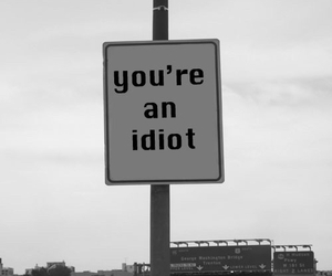 idiot, black and white, and quotes image