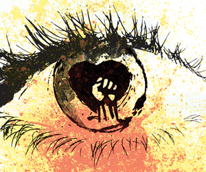 eye, rise against, and colorful image
