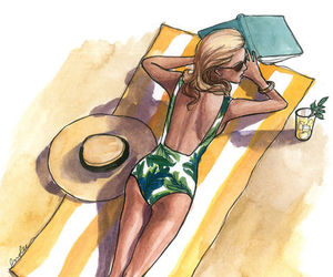 summer, illustration, and art image