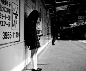 black and white, girl, and japan image