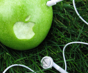 apple, green, and music image