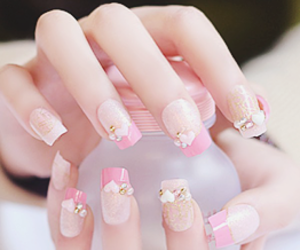 nails, pink, and kawaii image