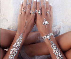 beach, bohemian, and gold image