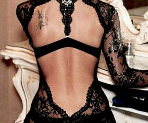 black, lingerie, and mirror image