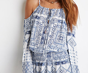 blue, boho, and dress image
