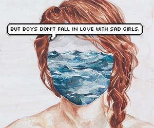 girl, sad, and boy image