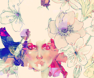 flowers, girl, and illustration image