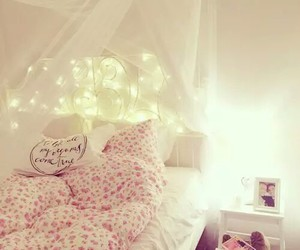 bedroom, light, and pink image