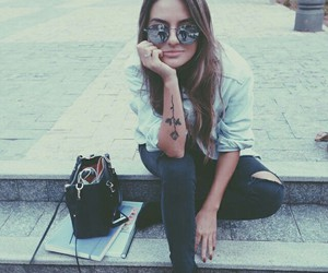 tattoo, girl, and sunglasses image