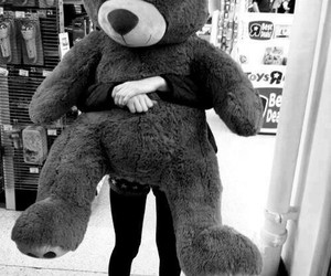 bear, teddy, and black and white image