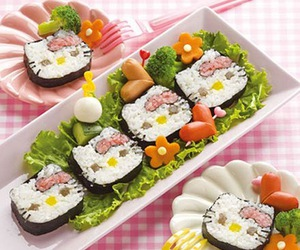 sushi, hello kitty, and food image