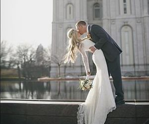 wedding, kiss, and love image