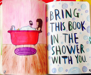 drawing, journal, and shower image
