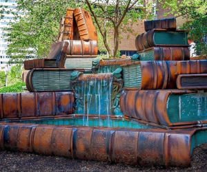 book, library, and fountain image