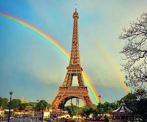 paris, eiffel, and rainbow image
