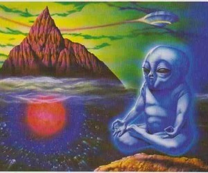 alien, Buddha, and trippy image