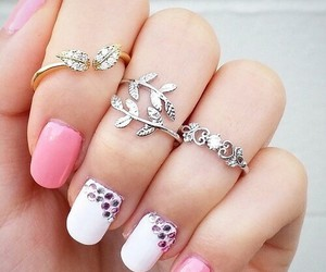 pink, nails, and rings image