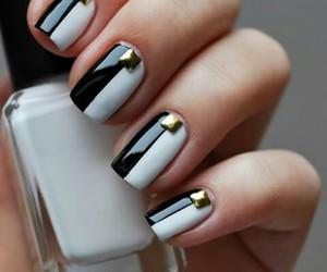 nails, nieten, and black white nails image