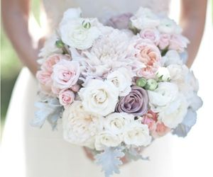 bride, flowers, and wedding image