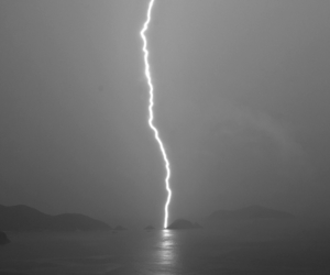 lightning, sky, and sea image