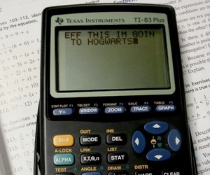 hogwarts, calculator, and harry potter image