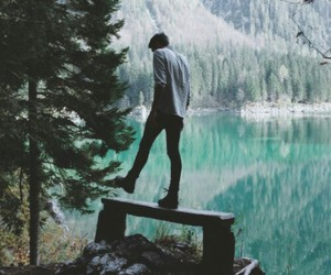 boy, nature, and forest image
