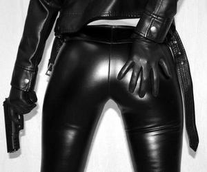 gun, leather, and sexy image