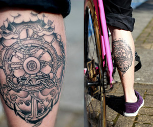 tattoo, bicycle, and calf image