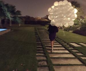 girl, balloons, and night image
