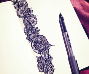 black and white, drawing, and henna image