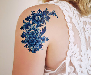 tattoo, blue, and flowers image