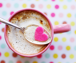 heart, pink, and coffee image