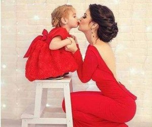 red, dress, and mom image