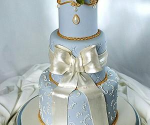 flowers, blue, and wedding cake image