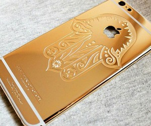 gold, iphone, and case image
