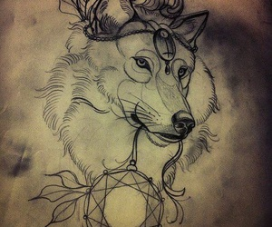 wolf, drawing, and sketch image
