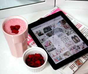 ipad, pink, and fruit image