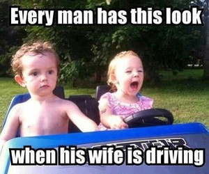 funny, driving, and wife image