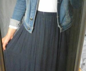 denim, jacket, and maxi skirt image